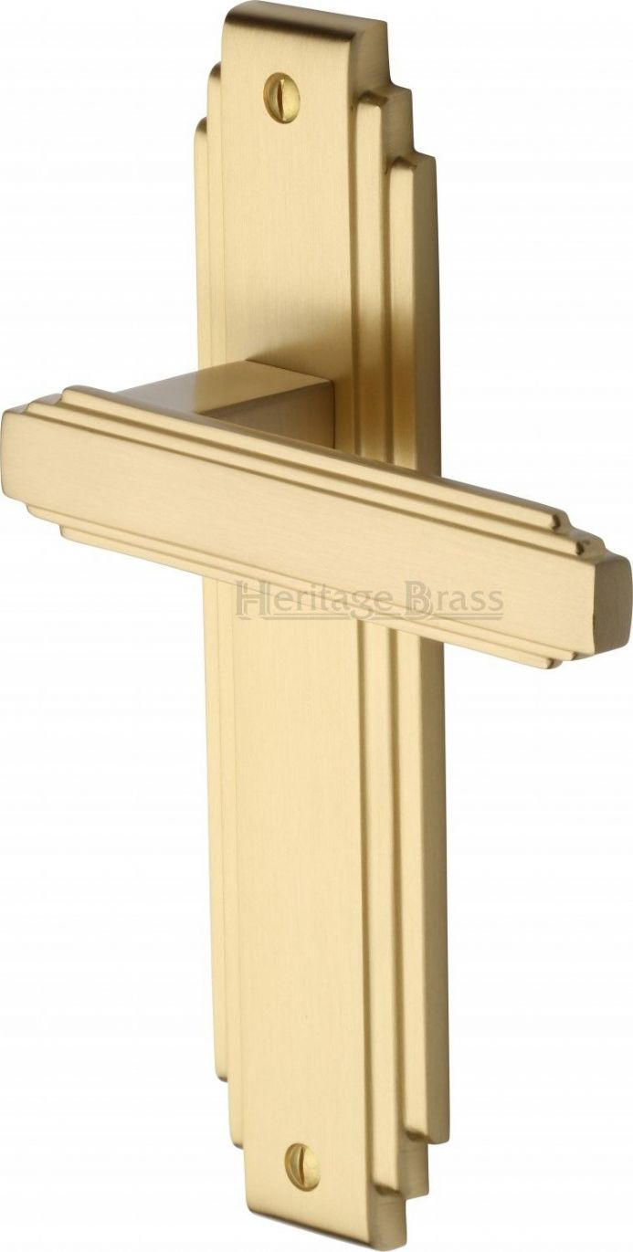 M Marcus Heritage Brass AST5910SB Astiora Door Handle on Latch Backplate Satin Brass